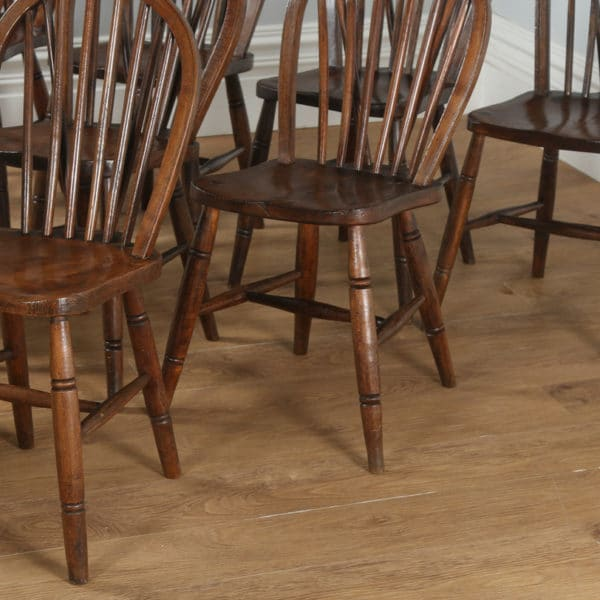 Antique Set of 10 Victorian Ash & Elm Stick Back Kitchen Chairs (Circa 1900) - yolagray.com