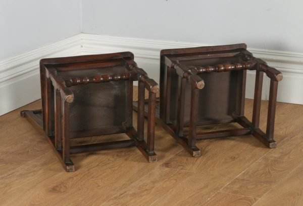 Antique English Pair of 17th Century Style Oak Wainscot Hall / Side Chairs (Circa 1920)- yolagray.com