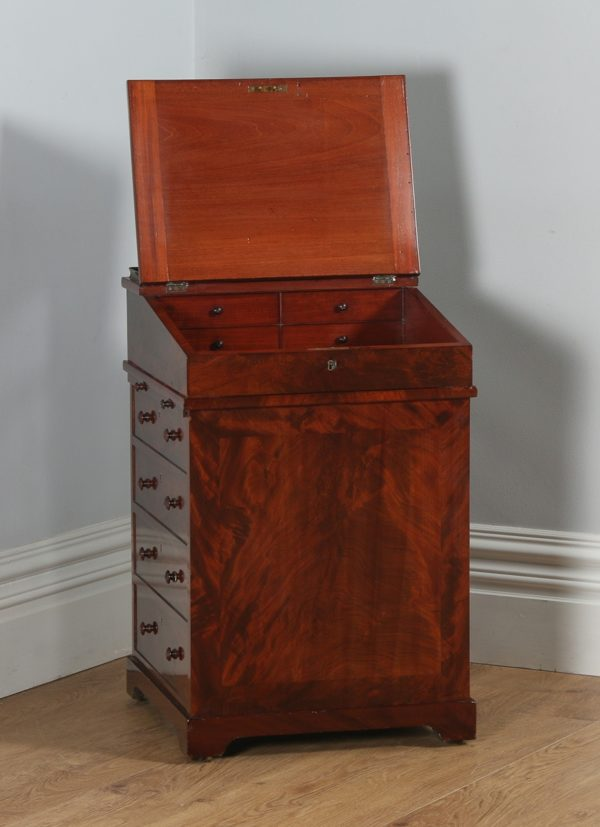Antique English Georgian Regency Flame Mahogany Davenport Writing Desk (Circa 1820) - yolagray.com