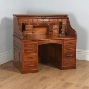 Antique English Victorian Oak Roll Top Pedestal Office Desk (Circa 1890) - yolagray.com