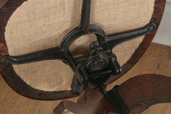Antique English Victorian Oak Revolving Office Desk Green Leather Arm Chair (Circa 1880) -yolagray.com