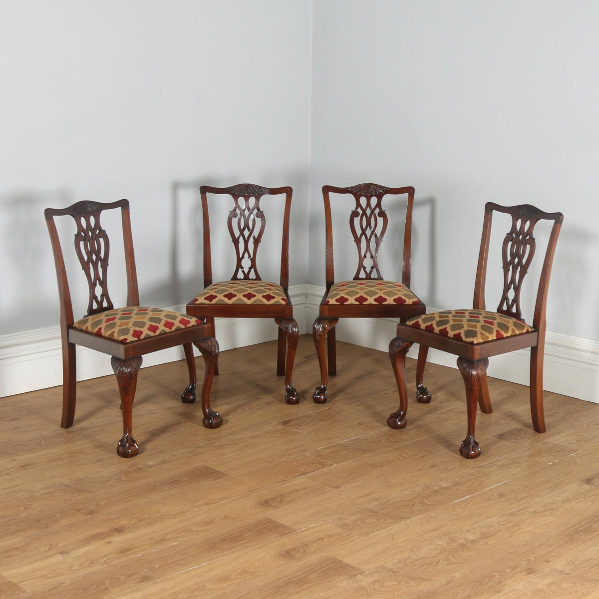 antique english set of four georgian chippendale style mahogany dining chairs circa 1900. Black Bedroom Furniture Sets. Home Design Ideas