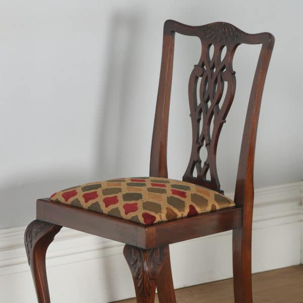 Antique English Set of Six Georgian Chippendale Style Mahogany Dining Chairs (Circa 1900)- yolagray.com