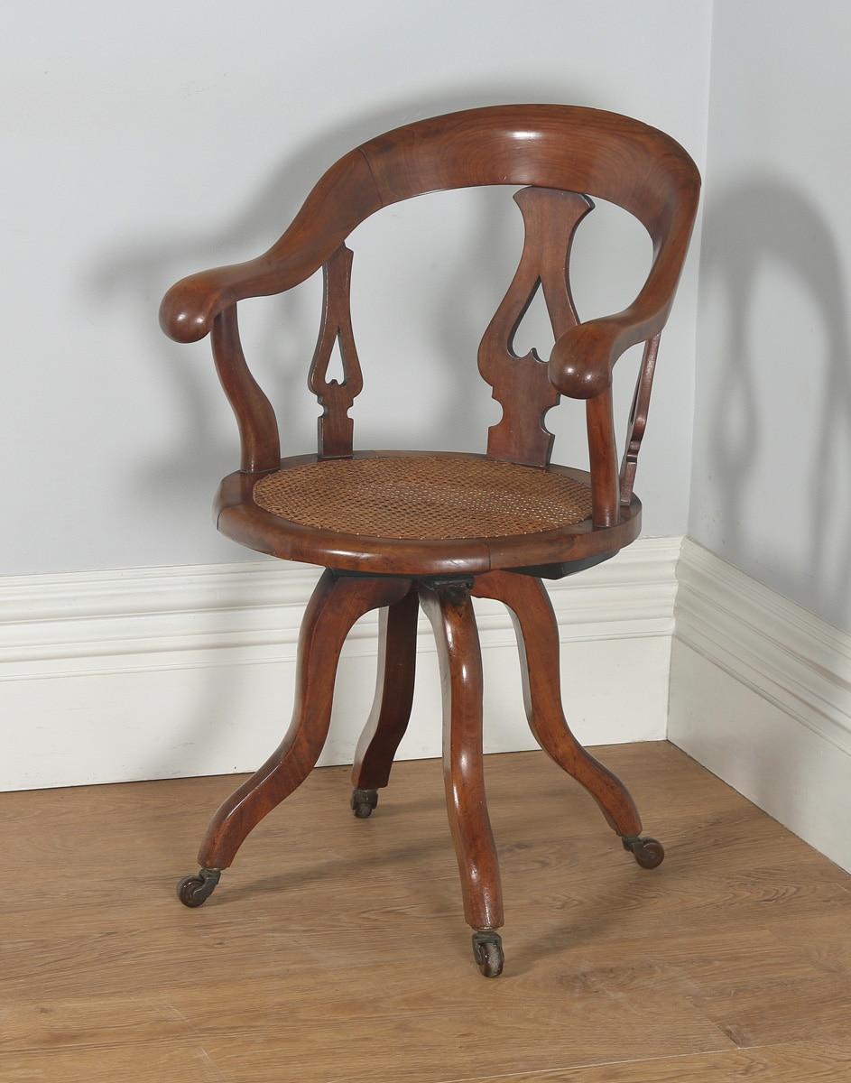 Antique English Victorian Gany Cane Revolving Office Desk Arm Chair Circa 1860