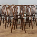 Antique Set of 10 Victorian Ash & Elm Stick Back Kitchen Chairs (Circa 1900)