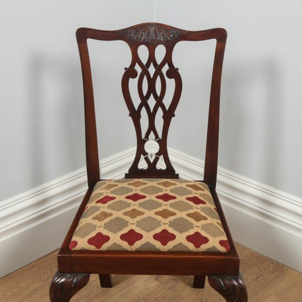 Antique English Set of Four Georgian Chippendale Style Mahogany Dining Chairs (Circa 1900)- yolagray.com