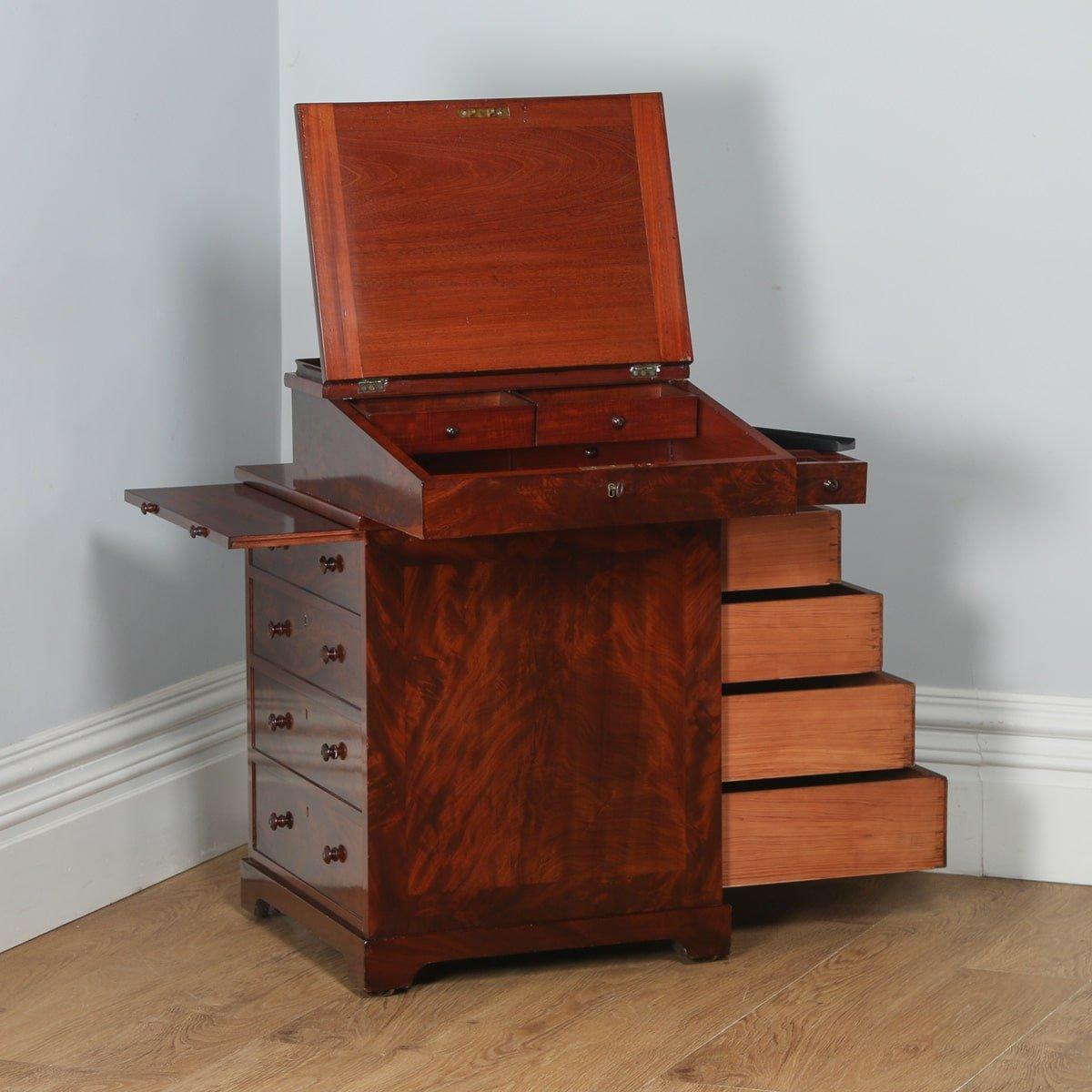 Antique English Georgian Regency Flame Gany Davenport Writing Desk Circa 1820 Yolagray