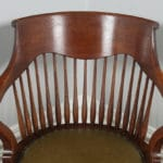 Antique English Victorian Oak Revolving Office Desk Green Leather Arm Chair (Circa 1880)