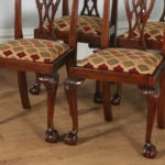 Antique English Set of Six Georgian Chippendale Style Mahogany Dining Chairs (Circa 1900)