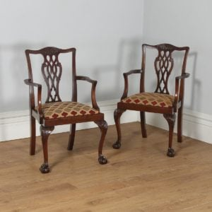 Antique English Pair of Georgian Chippendale Style Mahogany Library Office Desk Armchairs (Circa 1900)