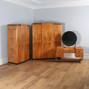 Antique English Art Deco Three Piece Satinwood & Maple Bedroom Suite (Circa 1930) - yolagray.com