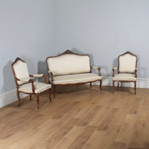 Antique French Louis XVI Style Walnut Three Piece Suite (Circa 1860) - yolagray.com