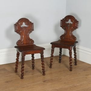 Antique English Victorian Pair of Gothic Style Carved Oak Hall / Side Chairs (Circa 1860)- yolagray.com
