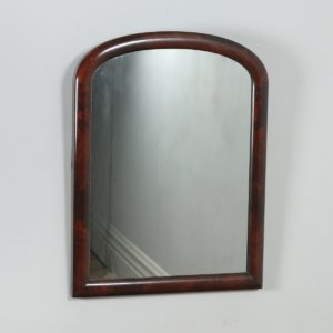 Antique English Victorian Flame Mahogany Rectangular Wall Portrait Mirror (Circa 1860)- yolagray.com