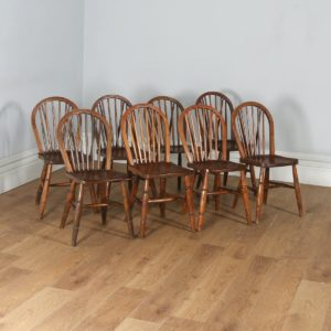 Antique Set of Eight Victorian Ash & Elm Country Stick Back Kitchen Dining Chairs (Circa 1900)- yolagray.com