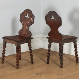 Antique English Victorian Pair Of Gothic Style Carved Oak Hall / Side Chairs  (Circa 1860