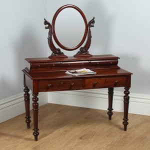 Antique Victorian Anglo Indian Colonial Teak Dressing Table with Mirror (Circa 1860) - yolagray.com