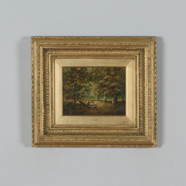 Antique English Small Oil Painting of Autumnal Forest Country Scene Attributable to Joseph Thors (Circa 1870) - yolagray.com