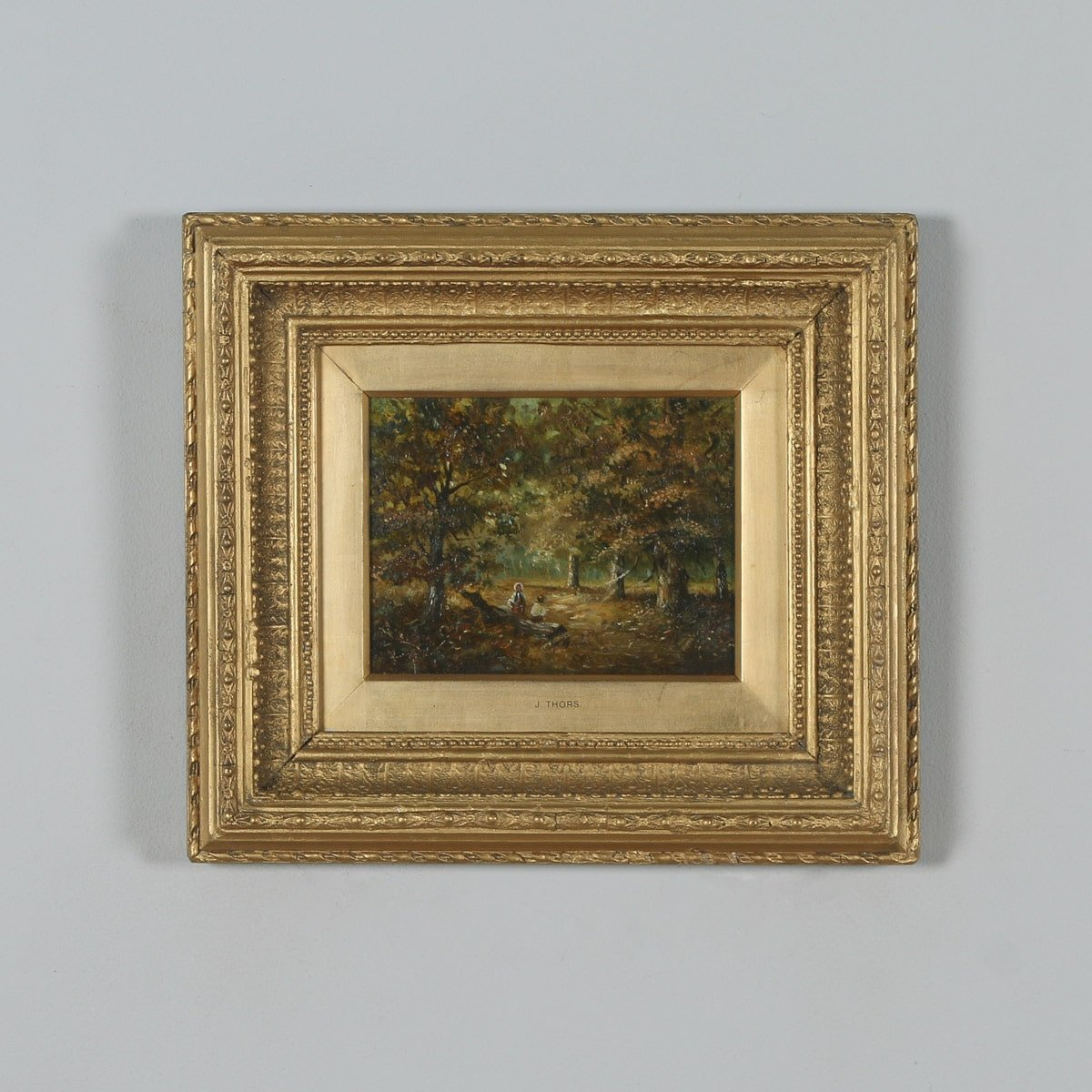 1cb9833587fa Antique English Small Oil Painting of Autumnal Forest Country Scene  Attributable to Joseph Thors (Circa