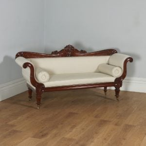 Antique English William IV Mahogany Upholstered Double Scroll End Couch (Circa 1830) - yolagray.com