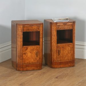 Antique Pair of English Art Deco Burr Walnut Bedside Cabinets (Circa 1930) - yolagray.com