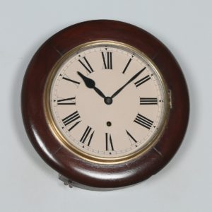 "Antique 14"" Mahogany Ansonia Railway Station / School Round Dial Wall Clock (Timepiece) - yolagray.com"