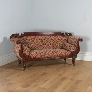 Antique English William IV Mahogany Upholstered Double Scroll End Couch (Circa 1835) - yolagray.com