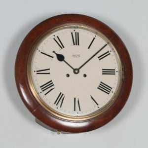 "Antique 15"" Mahogany Smiths Enfield Railway Station / School Round Dial Wall Clock (Chiming) - yolagray.com"