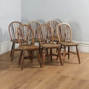 Antique Set of Six Victorian Ash & Elm Country Stick Back Dining Chairs (Circa 1900) - yolagray.com