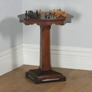Antique English Victorian Aesthetic Walnut & Sycamore Octagonal Chess Table (Circa 1880) - yolagray.com