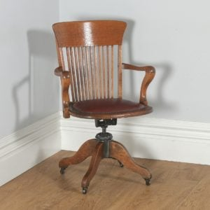 Antique English Edwardian Oak & Leather Revolving Office Desk Arm Chair (Circa 1910)- yolagray.com