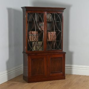 Antique English Georgian Style Mahogany Glazed Bookcase (Circa 1900) - yolagray.com