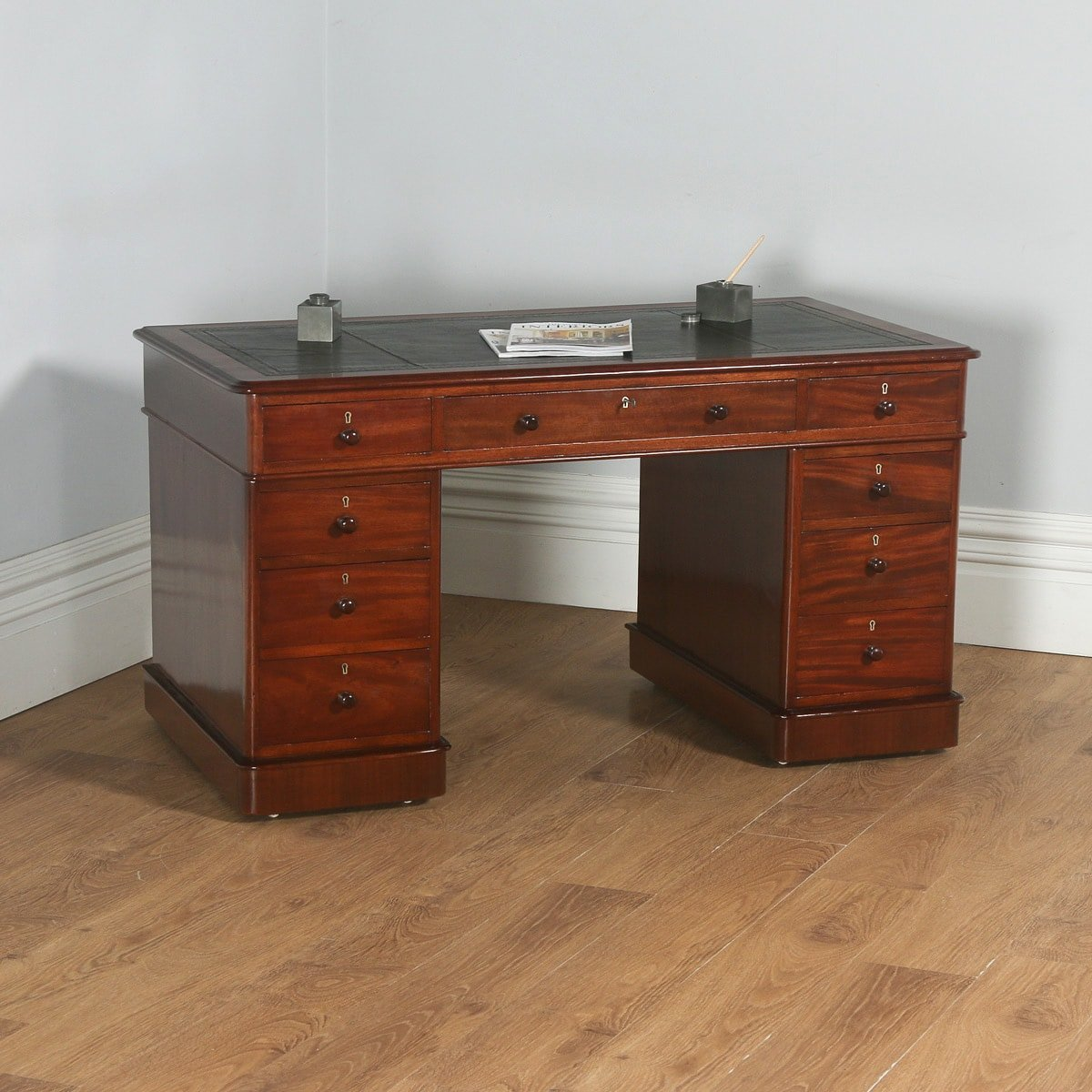 Antique English Victorian Gany Leather 4ft 6 Pedestal Office Desk Circa 1860