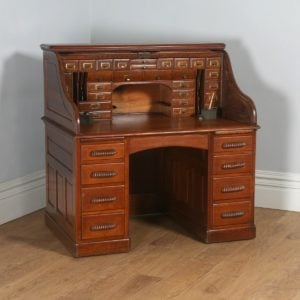 Antique English Edwardian Oak Lebus Roll Top Pedestal Office Desk (Circa 1900) - yolagray.com