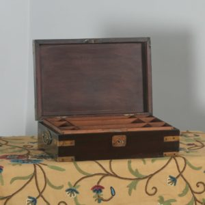 Antique Victorian Colonial Campaign Mahogany Brass Writing / Jewellery / Sewing Box (Circa 1860) - yolagray.com