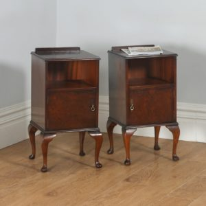 Antique English Pair of Queen Anne Style Burr Walnut Bedside Cupboards (Circa 1940) - yolagray.com