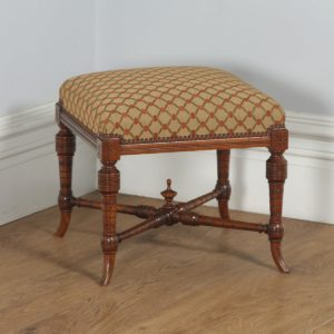 Antique English Victorian Walnut Upholstered Foot Stool Poof (Circa 1890) - yolagray.com