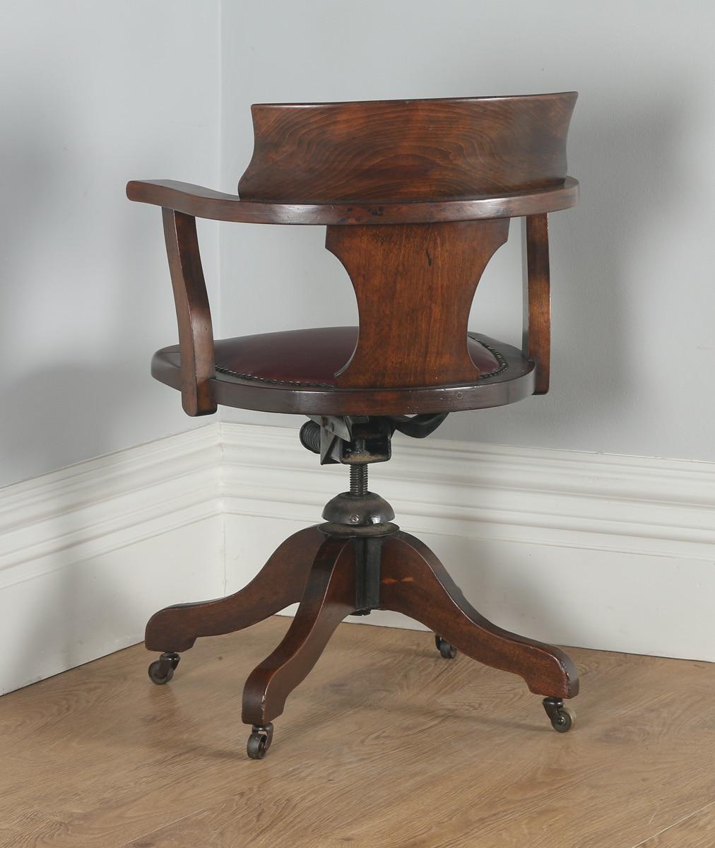 Antique english edwardian mahogany burgundy red leather for Furniture kelsall