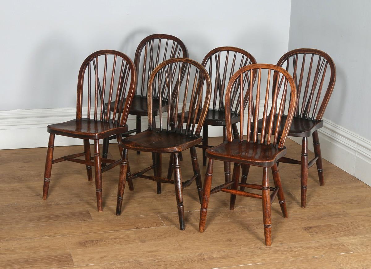 antique set of six victorian ash & elm country stick back windsor