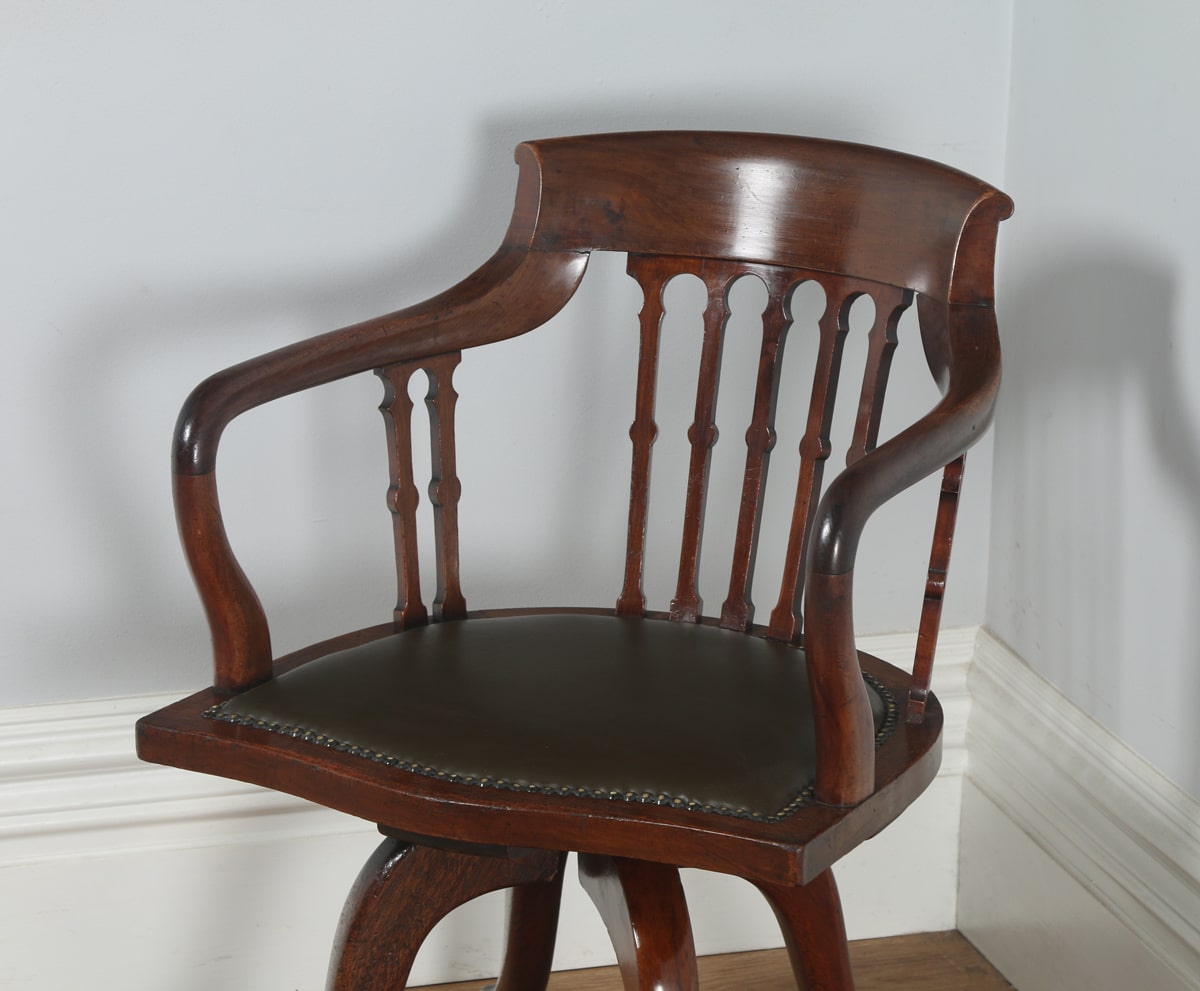 Antique Victorian Mahogany & Leather Revolving Office Chair by J