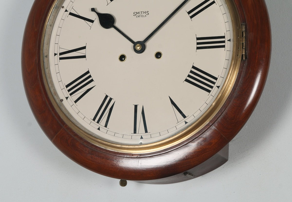 Antique 15 Quot Mahogany Smiths Enfield Railway Station School Round Dial Wall Clock Chiming Yola Gray Antiques