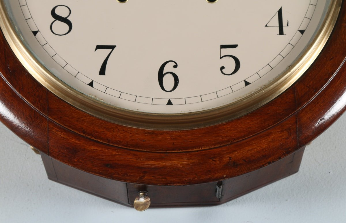 Antique 16 mahogany anglo swiss railway station school round antique 16 mahogany anglo swiss railway station school round dial wall clock chiming amipublicfo Gallery