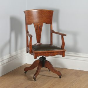 Antique English Edwardian Art Nouveau Oak & Leather Revolving Office Desk Arm Chair (Circa 1910)- yolagray.com