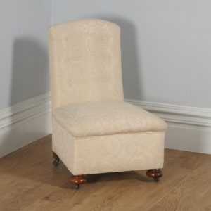 Antique English Victorian Walnut Howard & Sons Style Button Upholstered Nursing / Occasional Chair (Circa 1850)- yolagray.com