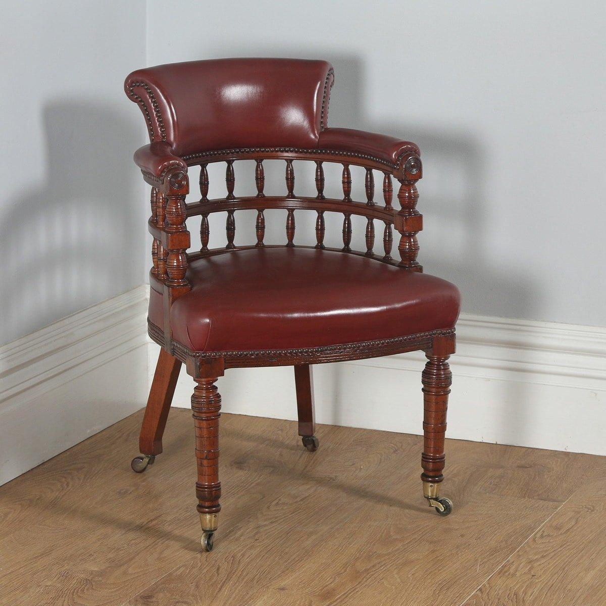 Antique English Victorian Walnut Burgundy Red Leather Office Desk Arm Chair (Circa 1880)- yolagray.com