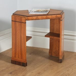 Art Deco Figured Walnut & Coromandel Octagonal Centre Coffee Occasional Side Table (Circa 1930)- yolagray.com