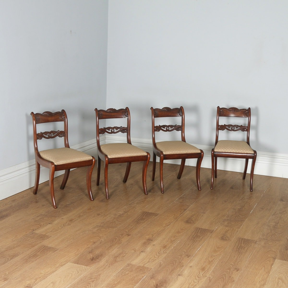 Antique English Georgian Regency Set of Four Mahogany Dining Chairs (Circa 1830)- yolagray.com