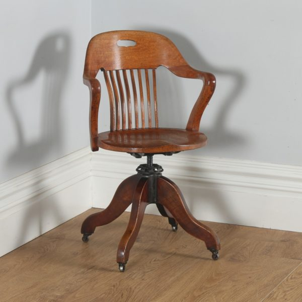 Antique Edwardian Oak Revolving Swivel Office Desk Arm Chair (Circa 1900)- yolagray.com