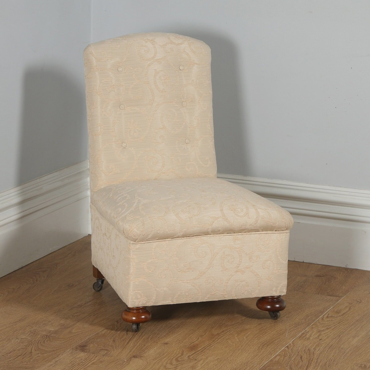Antique English Victorian Walnut Howard U0026 Sons Style Button Upholstered  Nursing / Occasional Chair (Circa