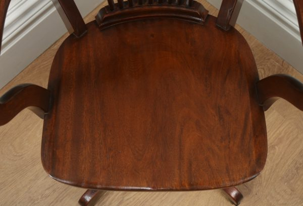 Antique English Edwardian Mahogany Revolving Office Desk Arm Chair (Circa 1900)- yolagray.com